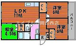 ラ・フォーレ東古松[3階]の間取り