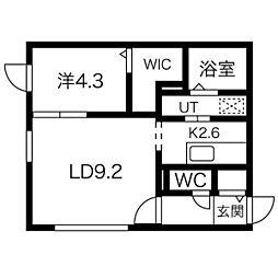 douzieme V(ドゥージェム5) 4階1LDKの間取り