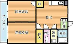 シャトレ引野[4階]の間取り