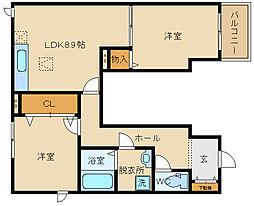 大阪府八尾市跡部南の町2丁目の賃貸アパートの間取り