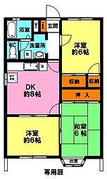 ビバコート暁A棟(角)[1階]の間取り