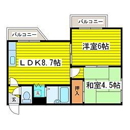 北海道札幌市東区北十条東6丁目の賃貸マンションの間取り