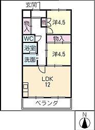 ルミエール勝川[4階]の間取り