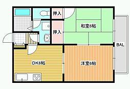 シャルマン沢田[1階]の間取り