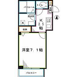 JR中央本線 国分寺駅 徒歩12分の賃貸マンション 1階1Kの間取り