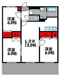 JR鹿児島本線 九産大前駅 徒歩14分の賃貸マンション 5階3LDKの間取り