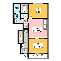 ブリッサB棟[1階]の間取り