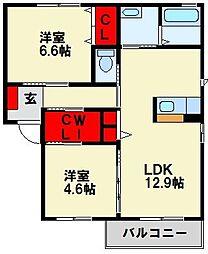 サワディー A棟 1階2LDKの間取り