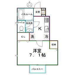 JR中央本線 西国分寺駅 徒歩5分の賃貸アパート 1階1Kの間取り