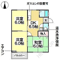 愛知県名古屋市瑞穂区白羽根町1丁目の賃貸アパートの間取り