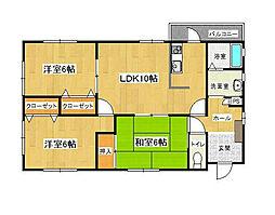 福岡県北九州市八幡西区永犬丸2丁目の賃貸アパートの間取り