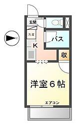 愛知県清須市西枇杷島町下新の賃貸アパートの間取り