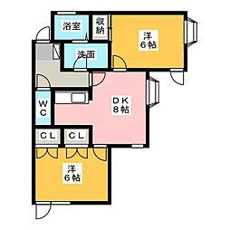 上島コモンコートD[1階]の間取り