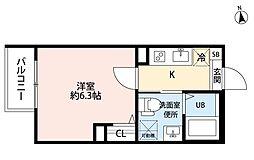 名古屋市営名城線 ナゴヤドーム前矢田駅 徒歩3分の賃貸アパート 2階1Kの間取り
