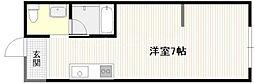 JR山陽本線 西広島駅 徒歩6分の賃貸アパート 2階ワンルームの間取り