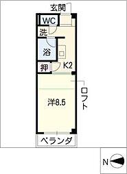 ソレアードM 1階ワンルームの間取り