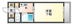 大阪府富田林市喜志町2丁目の賃貸マンションの間取り