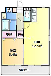 JR宇野線 備前西市駅 徒歩3分の賃貸マンション 3階1LDKの間取り