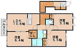 ラフィーネプロムナード3 B[2階]の間取り