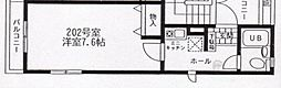 神奈川県川崎市中原区新丸子東2丁目の賃貸アパートの間取り