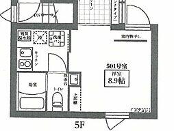 都営大江戸線 新御徒町駅 徒歩2分の賃貸マンション 5階ワンルームの間取り