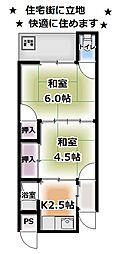 京都府京都市伏見区新町11丁目の賃貸アパートの間取り