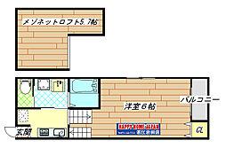 若江岩田駅徒歩8分 新築アパート[203号室]の間取り