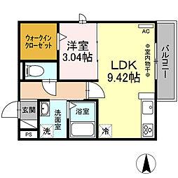 JR東海道本線 大垣駅 徒歩8分の賃貸アパート 2階1DKの間取り