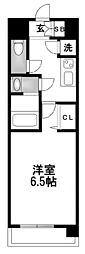 レジュールアッシュ京橋CROSSII 3階1Kの間取り