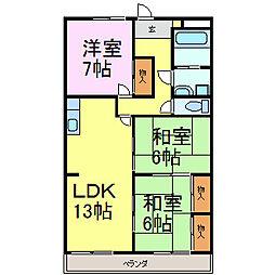 シャトー雁宿[4階]の間取り
