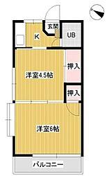神奈川県相模原市南区東林間3丁目の賃貸アパートの間取り