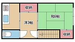 兵庫県神戸市灘区高尾通1丁目の賃貸アパートの間取り