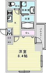 Osaka Metro御堂筋線 新大阪駅 徒歩8分の賃貸マンション 9階1Kの間取り