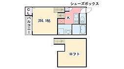 福岡県福岡市西区内浜2丁目の賃貸アパートの間取り