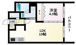 JR東海道・山陽本線 新大阪駅 徒歩7分の賃貸マンション 22階1LDKの間取り