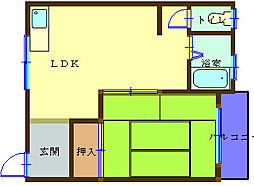 池下マンションII 3階1LDKの間取り