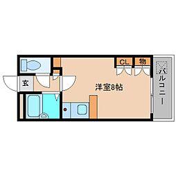 奈良県大和高田市今里町の賃貸アパートの間取り