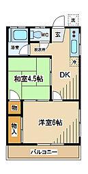 東京都府中市押立町1丁目の賃貸マンションの間取り