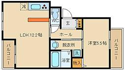 大阪府八尾市東山本新町5丁目の賃貸マンションの間取り