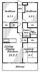 プリーマ西都賀[2階]の間取り