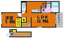 岡山電気軌道清輝橋線 清輝橋駅 徒歩24分の賃貸アパート 2階1LDKの間取り