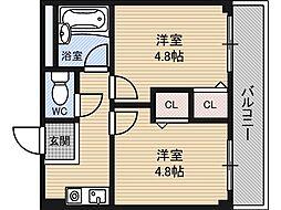 木川東エクセルハイツ[4階]の間取り