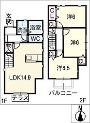 [一戸建] 愛知県名古屋市緑区黒沢台2丁目 の賃貸【/】の間取り