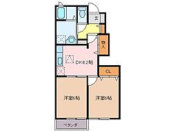三重県伊勢市鹿海町の賃貸アパートの間取り