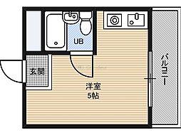 野江2番館 5階ワンルームの間取り