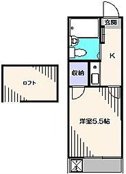 東京都西東京市下保谷3丁目の賃貸アパートの間取り