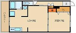 第2カシノハイツ[2階]の間取り