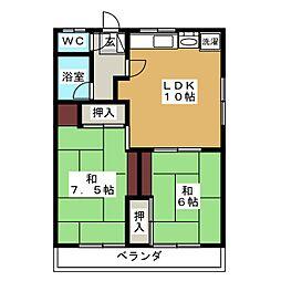 リブ桜川B[2階]の間取り