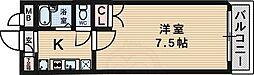 北大阪急行電鉄 緑地公園駅 徒歩7分の賃貸マンション 2階1Kの間取り