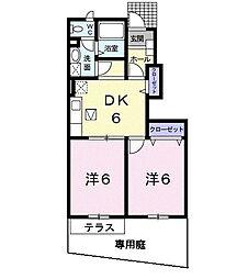 東京都日野市南平7丁目の賃貸アパートの間取り